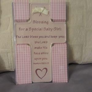 Little girls blessing cross pink plaque